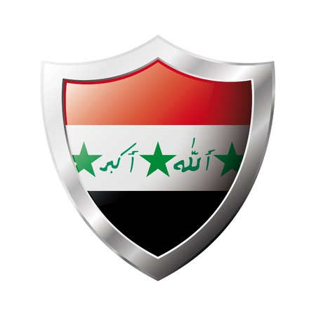 Iraq flag on metal shiny shield  illustration. Collection of flags on shield against white background. Abstract isolated object. Stock Illustration - 6945737