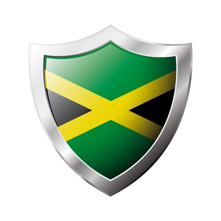 jamaica: Jamaica flag on metal shiny shield  illustration. Collection of flags on shield against white background. Abstract isolated object. Stock Photo