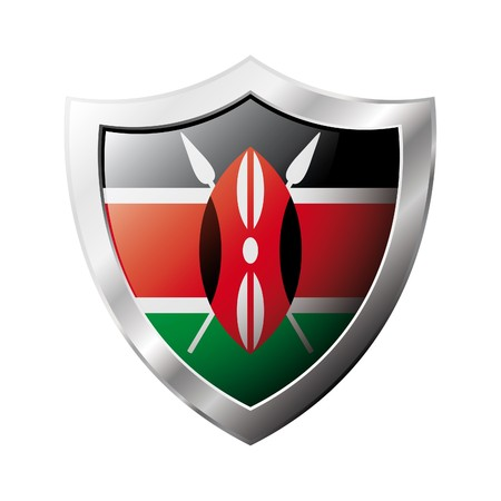 kenya: Kenya flag on metal shiny shield illustration. Collection of flags on shield against white background. Abstract isolated object.