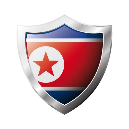 Korea DPR flag on metal shiny shield illustration. Collection of flags on shield against white background. Abstract isolated object. illustration
