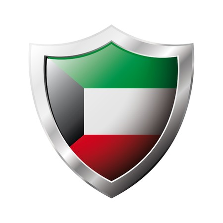 Kuwait flag on metal shiny shield  illustration. Collection of flags on shield against white background. Abstract isolated object. illustration