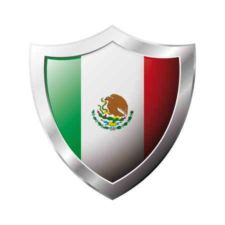 shiny metal: Mexico flag on metal shiny shield  illustration. Collection of flags on shield against white background. Abstract isolated object.