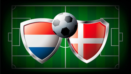 Netherlands versus Denmark abstract illustration isolated on white background. Soccer match in South Africa 2010. Shiny football shield of flag Netherlands versus Denmark illustration