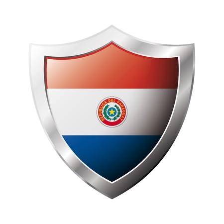 bandera de paraguay: Bandera de Paraguay en el metal brillante escudo ilustraci�n. Colecci�n de banderas en escudo contra el fondo blanco. Objeto aislado abstracta.  Foto de archivo