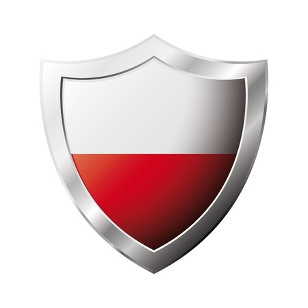 poland: Poland flag on metal shiny shield  illustration. Collection of flags on shield against white background. Abstract isolated object.