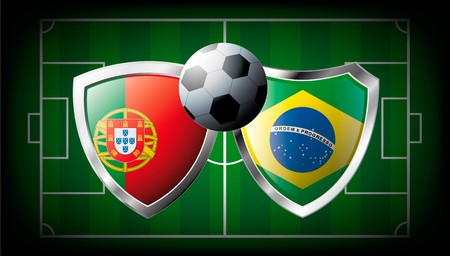 Portugal versus Brazil abstract illustration isolated on white background. Soccer match in South Africa 2010. Shiny football shield of flag Portugal versus Brazil Stock Illustration - 6943613