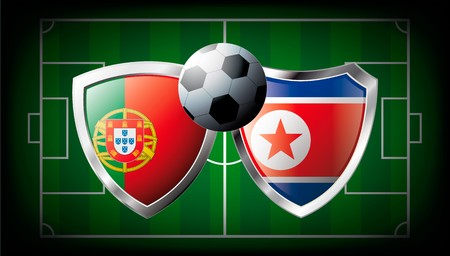 Portugal versus Korea DPR abstract  illustration isolated on white background. Soccer match in South Africa 2010. Shiny football shield of flag Portugal versus Korea DPR Stock Illustration - 6943611