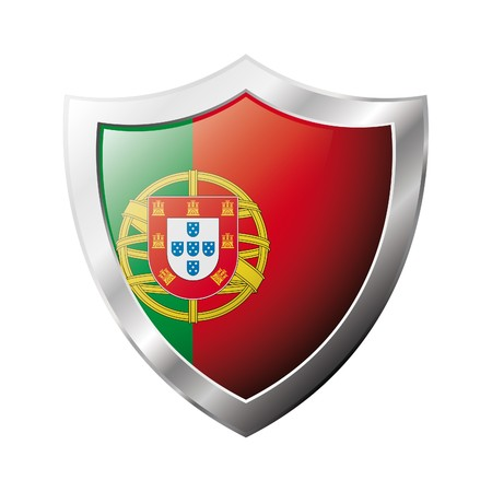 portugal: Portugal flag on metal shiny shield  illustration. Collection of flags on shield against white background. Abstract isolated object. Stock Photo