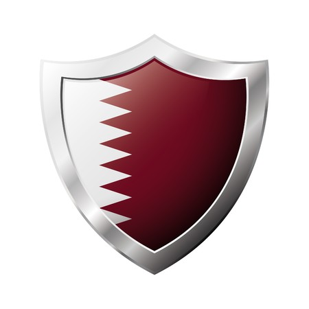 Qatar flag on metal shiny shield  illustration. Collection of flags on shield against white background. Abstract isolated object. Stock Illustration - 6941342