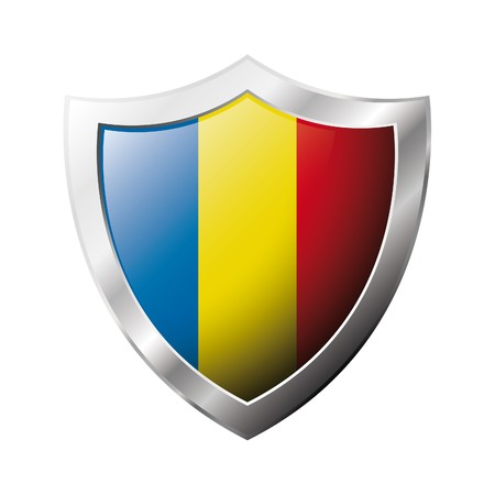 romania: Romania flag on metal shiny shield  illustration. Collection of flags on shield against white background. Abstract isolated object.