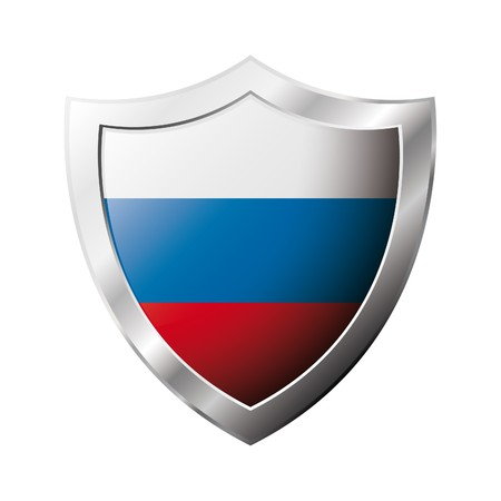 Russia flag on metal shiny shield  illustration. Collection of flags on shield against white background. Abstract isolated object. illustration