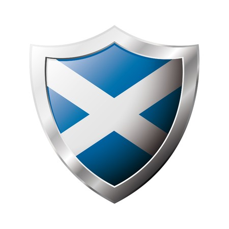 Scotland flag on metal shiny shield  illustration. Collection of flags on shield against white background. Abstract isolated object.
