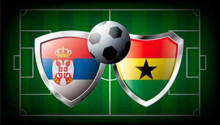 Serbia versus Ghana abstract  illustration isolated on white background. Soccer match in South Africa 2010. Shiny football shield of flag Serbia versus Ghana illustration