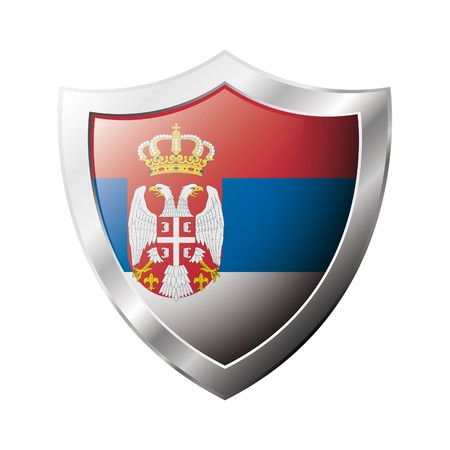 Serbia flag on metal shiny shield  illustration. Collection of flags on shield against white background. Abstract isolated object. Stock Illustration - 6945953