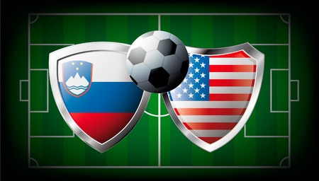 Slovenia versus USA abstract illustration isolated on white background. Soccer match in South Africa 2010. Shiny football shield of flag Slovenia versus USA illustration