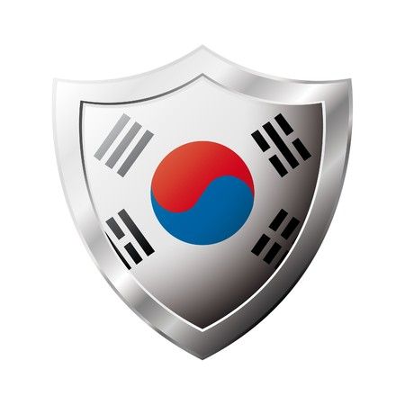 shiny metal: South Korea flag on metal shiny shield  illustration. Collection of flags on shield against white background. Abstract isolated object.