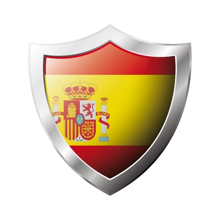 Spain flag on metal shiny shield  illustration. Collection of flags on shield against white background. Abstract isolated object. Stock Illustration - 6945913