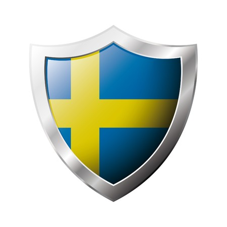 sweden flag: Sweden flag on metal shiny shield  illustration. Collection of flags on shield against white background. Abstract isolated object.