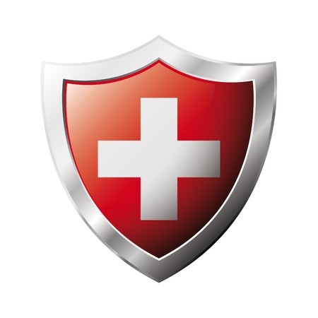 swiss flag: Swiss flag on metal shiny shield  illustration. Collection of flags on shield against white background. Abstract isolated object.