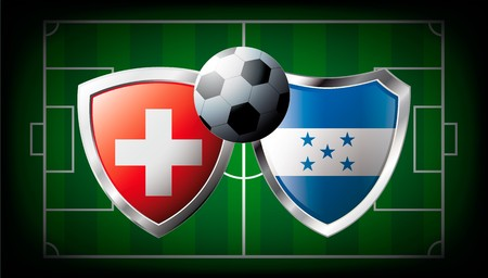 Switzerland versus Honduras abstract  illustration isolated on white background. Soccer match in South Africa 2010. Shiny football shield of flag Switzerland versus Honduras illustration