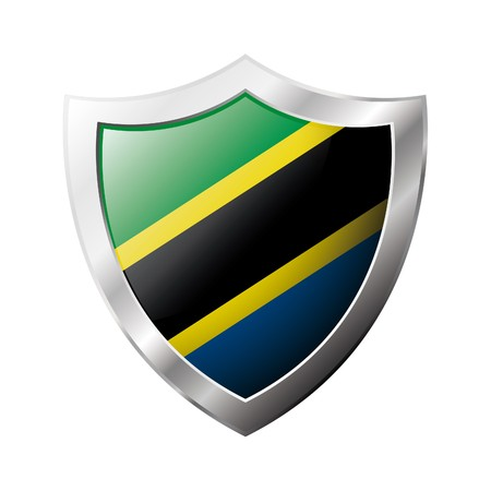 Tanzania flag on metal shiny shield  illustration. Collection of flags on shield against white background. Abstract isolated object. illustration