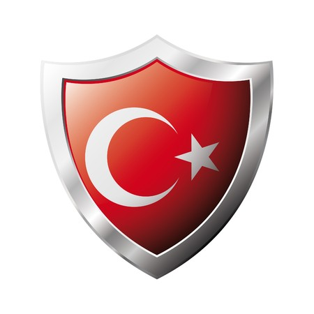 Turkey flag on metal shiny shield  illustration. Collection of flags on shield against white background. Abstract isolated object. illustration