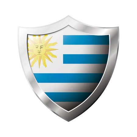 bandera de uruguay: Bandera de Uruguay en el metal brillante escudo ilustraci�n. Colecci�n de banderas en el escudo contra el fondo blanco. Objeto aislado abstracta.
