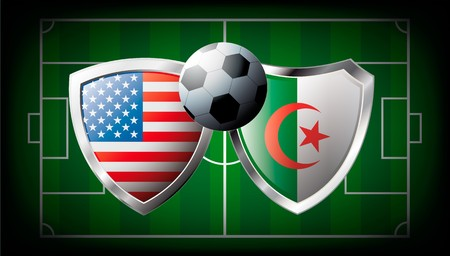 USA versus Algeria abstract illustration isolated on white background. Soccer match in South Africa 2010. Shiny football shield of flag USA versus Algeria illustration