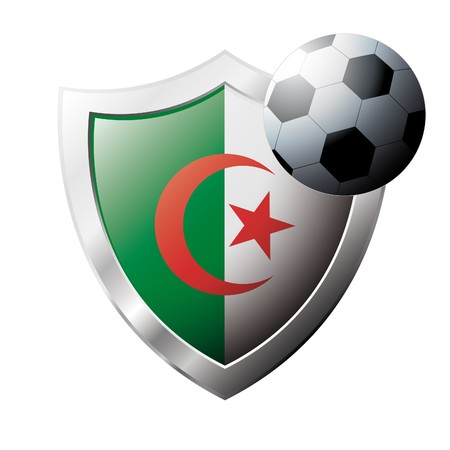 illustration - abstract soccer theme - shiny metal shield isolated on white background with flag of Algeria illustration