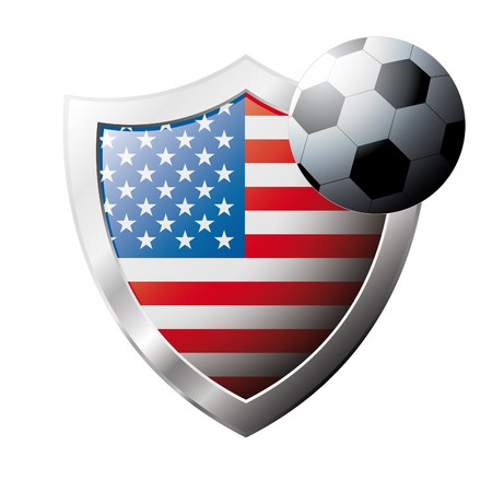 illustration - abstract soccer theme - shiny metal shield isolated on white background with flag of America USA illustration