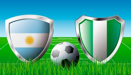 Argentina versus Nigeria abstract  illustration isolated on white background. Soccer match in South Africa 2010. Shiny football shield of flag Argentina versus Nigeria illustration