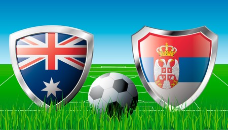 Australia versus Serbia abstract  illustration isolated on white background. Soccer match in South Africa 2010. Shiny football shield of flag Australia versus Serbia illustration