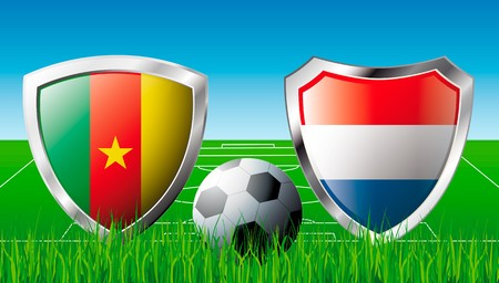 cameroon: Cameroon versus Netherlands abstract  illustration isolated on white background. Soccer match in South Africa 2010. Shiny football shield of flag Cameroon versus Netherlands Stock Photo