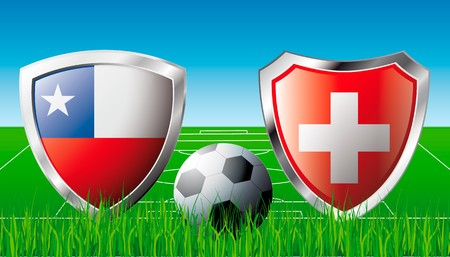 Chile versus Switzerland abstract  illustration isolated on white background. Soccer match in South Africa 2010. Shiny football shield of flag Chile versus Switzerland illustration