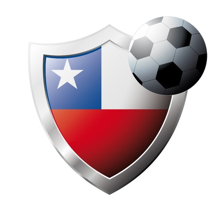 illustration - abstract soccer theme - shiny metal shield isolated on white background with flag of Chile illustration