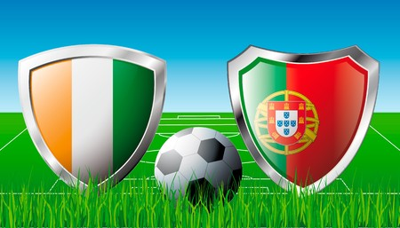 Cote d I voire versus Portugal abstract  illustration isolated on white background. Soccer match in South Africa 2010. Shiny football shield of flag Cote d I voire versus Portugal Stock Illustration - 6943271