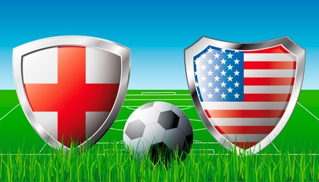 England versus USA abstract illustration isolated on white background. Soccer match in South Africa 2010. Shiny football shield of flag England versus USA illustration