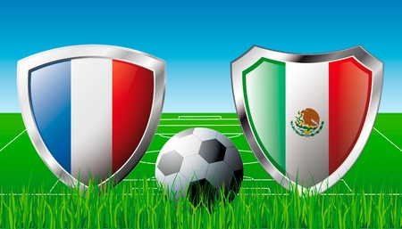France versus Mexico abstract  illustration isolated on white background. Soccer match in South Africa 2010. Shiny football shield of flag France versus Mexico illustration