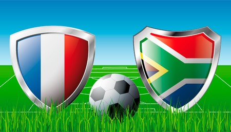 France versus South Africa abstract illustration isolated on white background. Soccer match in South Africa 2010. Shiny football shield of flag France versus South Africa illustration