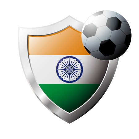illustration - abstract soccer theme - shiny metal shield isolated on white background with flag of India illustration