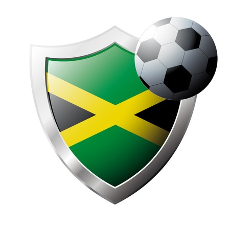 illustration - abstract soccer theme - shiny metal shield isolated on white background with flag of Jamaica illustration