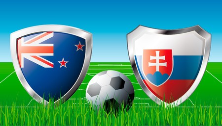 flag of new zealand: New zealand versus Slovakia abstract  illustration isolated on white background. Soccer match in South Africa 2010. Shiny football shield of flag New zealand versus Slovakia Stock Photo