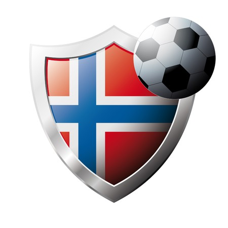 illustration - abstract soccer theme - shiny metal shield isolated on white background with flag of Norway Stock Illustration - 6945826