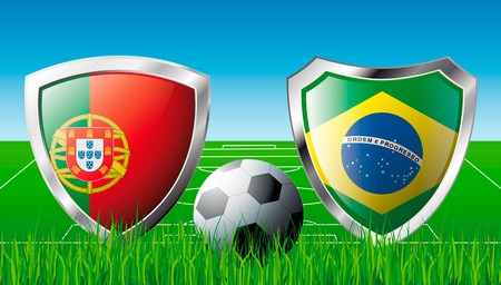 Portugal versus Brazil abstract  illustration isolated on white background. Soccer match in South Africa 2010. Shiny football shield of flag Portugal versus Brazil illustration