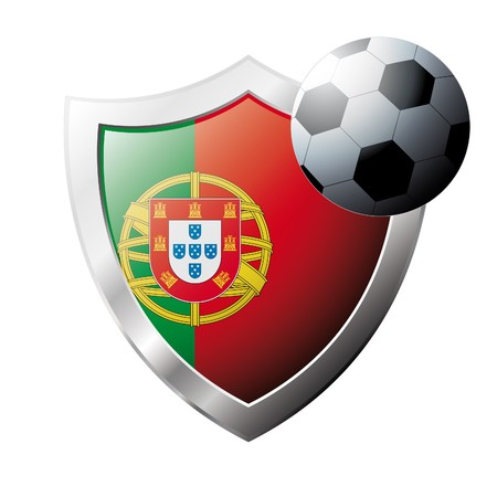 illustration - abstract soccer theme - shiny metal shield isolated on white background with flag of Portugal Stock Illustration - 6945928
