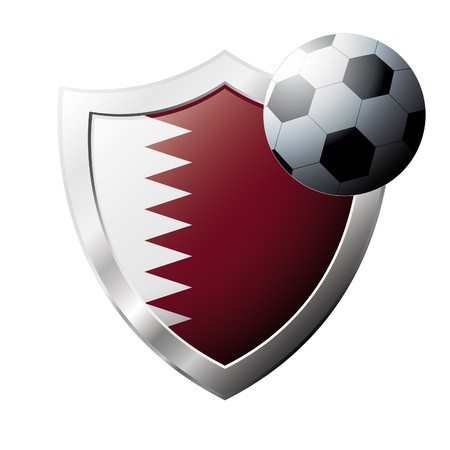 illustration - abstract soccer theme - shiny metal shield isolated on white background with flag of Qatar illustration