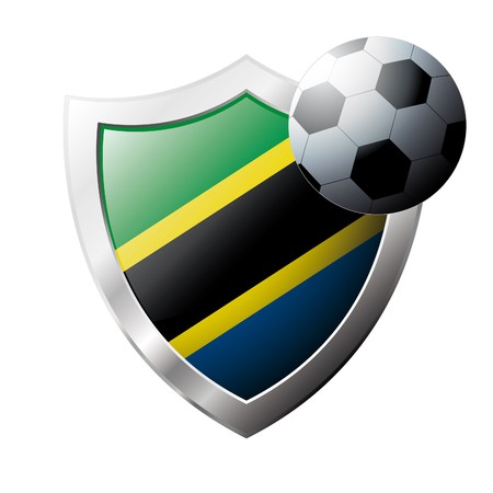 illustration - abstract soccer theme - shiny metal shield isolated on white background with flag of Tanzania illustration
