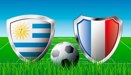 Uruguay versus France abstract illustration isolated on white background. Soccer match in South Africa 2010. Shiny football shield of flag Uruguay versus France illustration