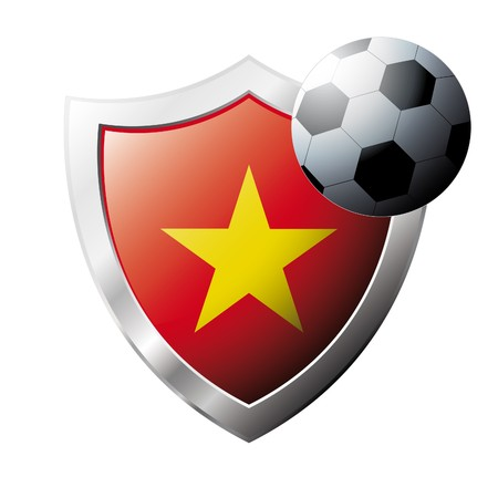 illustration - abstract soccer theme - shiny metal shield isolated on white background with flag of Vietnam illustration