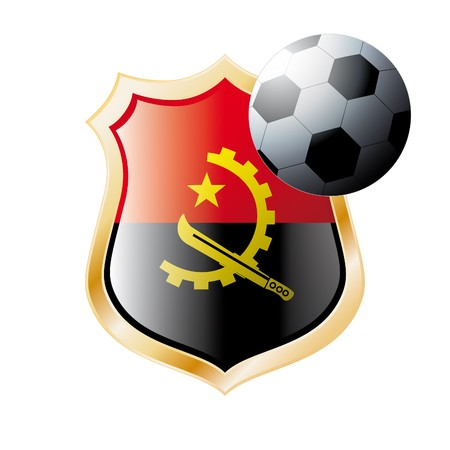 illustration - abstract soccer theme - shiny metal shield isolated on white background with flag of Angola illustration